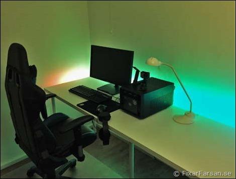 Långt PC Gamer skrivbord Med Fjärrstyrd LED Slinga   FixarFarsan
